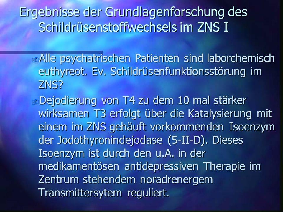 Grundlagen des Schildrüsen- stoffwechsels n Verfälschungen beim TRH- Test: u.A. Streß, Hungern, Altersfaktoren, EKT- Behandlung, Glukokortikoide, Dopa