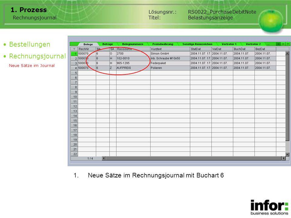 1.Neue Sätze im Rechnungsjournal mit Buchart 6 1. Prozess Rechnungsjournal Bestellungen Rechnungsjournal Neue Sätze im Journal Lösungsnr.:RS0022_Purch