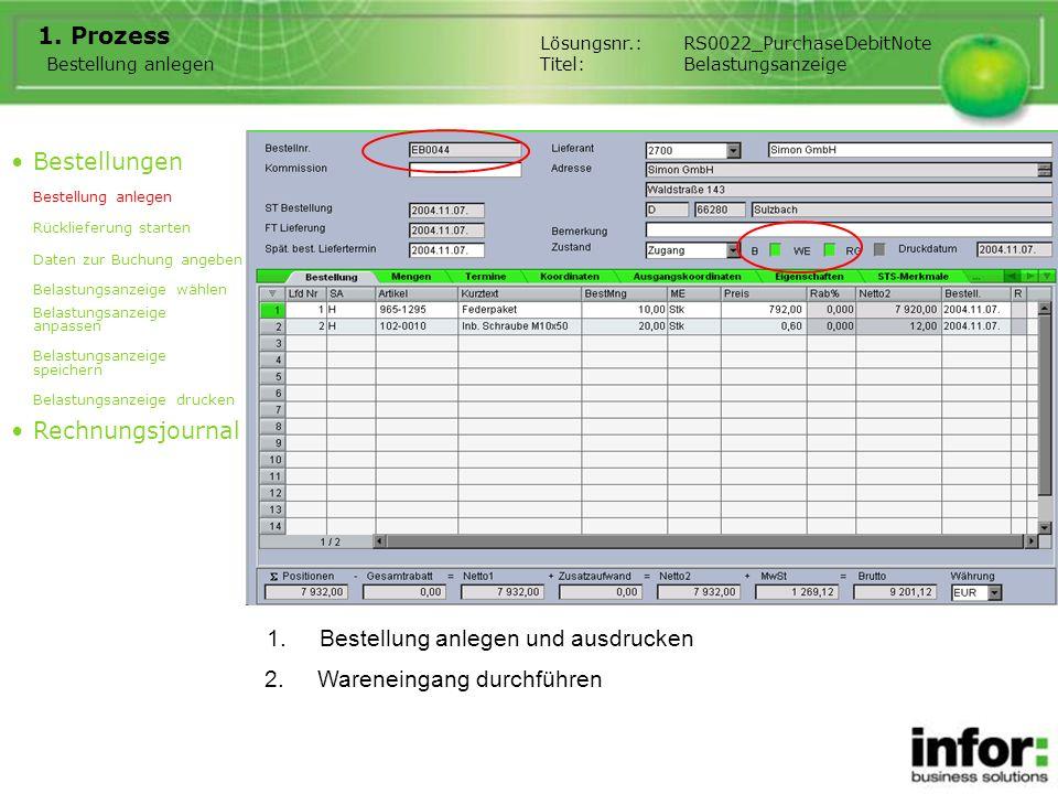 1.Bestellung anlegen und ausdrucken 1. Prozess Bestellung anlegen Bestellungen Bestellung anlegen Rücklieferung starten Daten zur Buchung angeben Bela