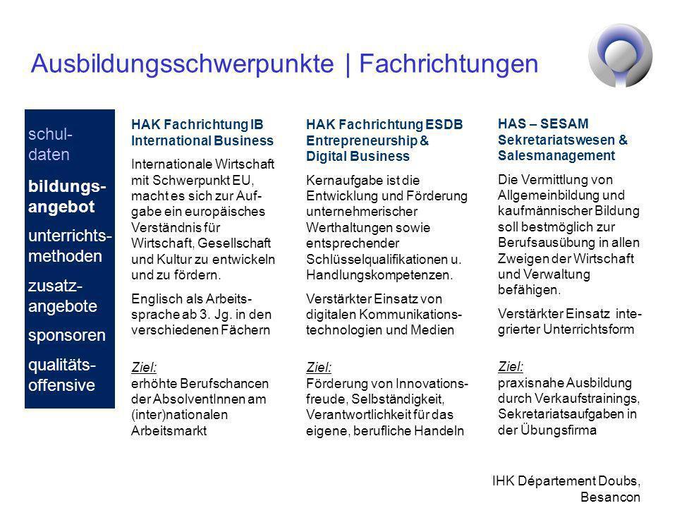 IHK Département Doubs, Besancon Ausbildungsschwerpunkte | Fachrichtungen HAK Fachrichtung ESDB Entrepreneurship & Digital Business Kernaufgabe ist die