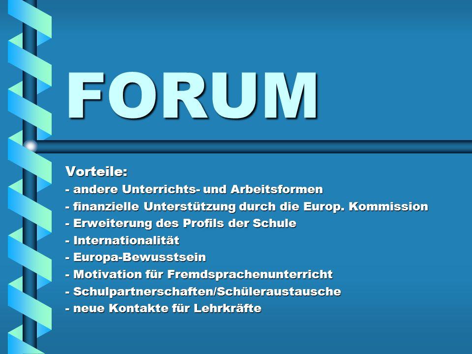 FORUM Vorteile: - andere Unterrichts- und Arbeitsformen - finanzielle Unterstützung durch die Europ. Kommission - Erweiterung des Profils der Schule -