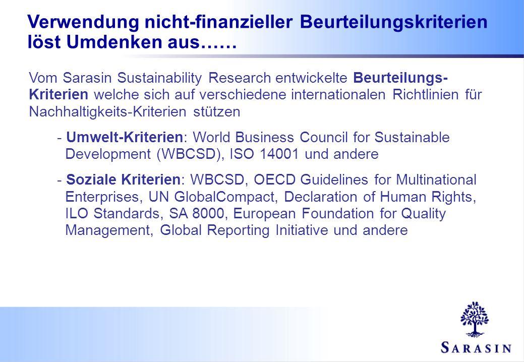 Verwendung nicht-finanzieller Beurteilungskriterien löst Umdenken aus…… Vom Sarasin Sustainability Research entwickelte Beurteilungs- Kriterien welche