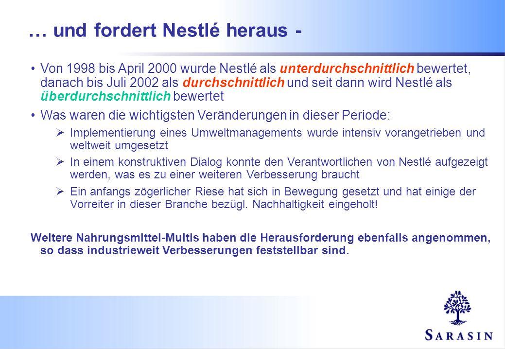… und fordert Nestlé heraus - Von 1998 bis April 2000 wurde Nestlé als unterdurchschnittlich bewertet, danach bis Juli 2002 als durchschnittlich und s