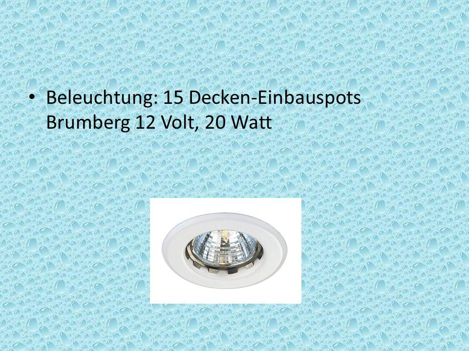Beleuchtung: 15 Decken-Einbauspots Brumberg 12 Volt, 20 Watt