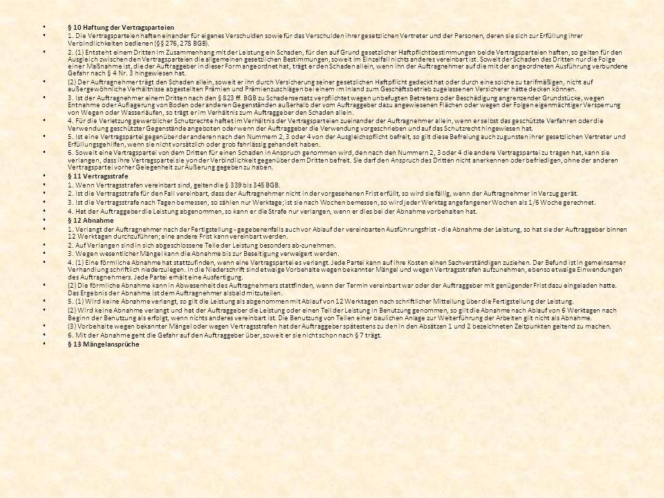 § 10 Haftung der Vertragsparteien 1.