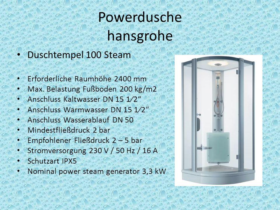 Berechnung der Leitungslängen und erforderlichen Querschnitte Powerdusche: Wir liefern dem Kunden eine hansgrohe Powerdusche.