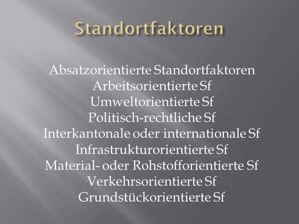 Absatzorientierte Standortfaktoren Arbeitsorientierte Sf Umweltorientierte Sf Politisch-rechtliche Sf Interkantonale oder internationale Sf Infrastrukturorientierte Sf Material- oder Rohstofforientierte Sf Verkehrsorientierte Sf Grundstückorientierte Sf