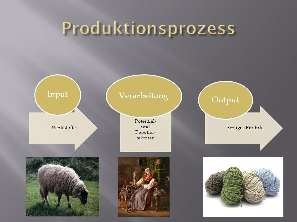 Werkstoffe Input Potential- und Repetier- faktoren Verarbeitung Fertiges Produkt Output