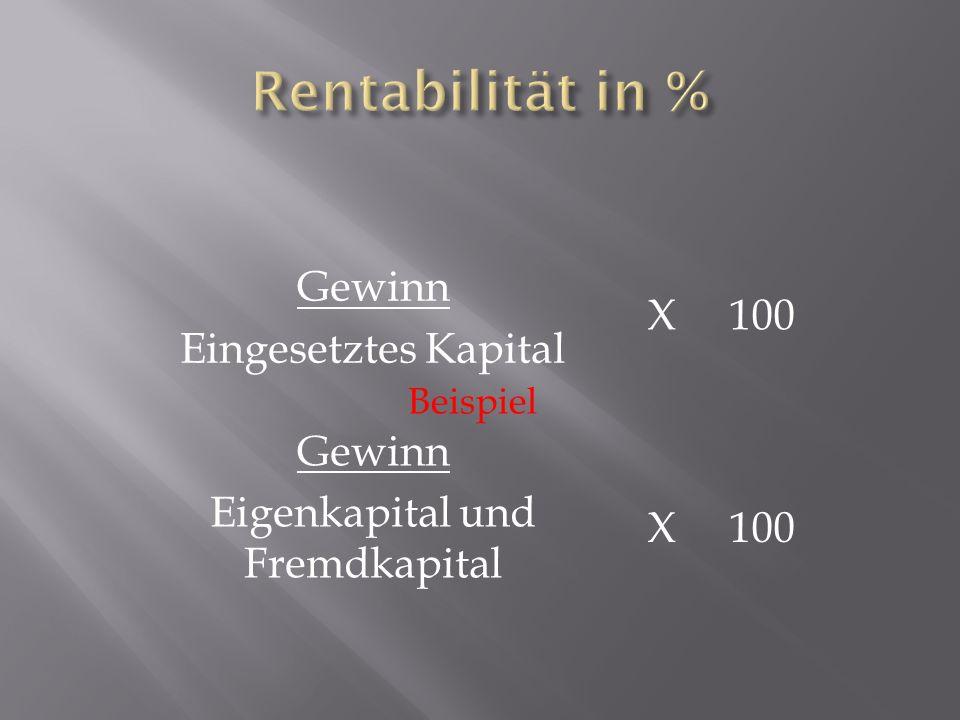 Gewinn Eingesetztes Kapital X 100 Gewinn Eigenkapital und Fremdkapital Beispiel X 100
