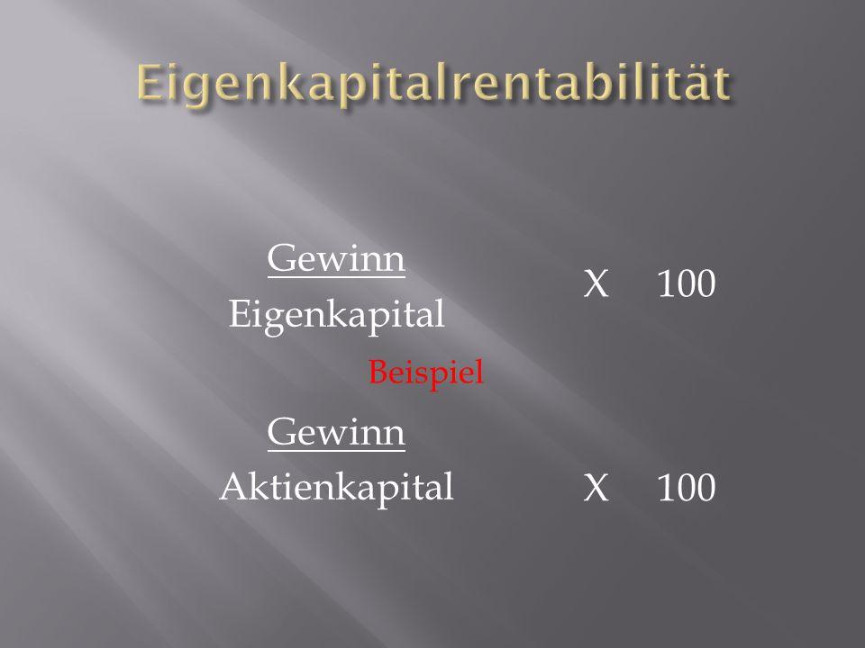 Gewinn Eigenkapital X 100 Gewinn Aktienkapital Beispiel X 100