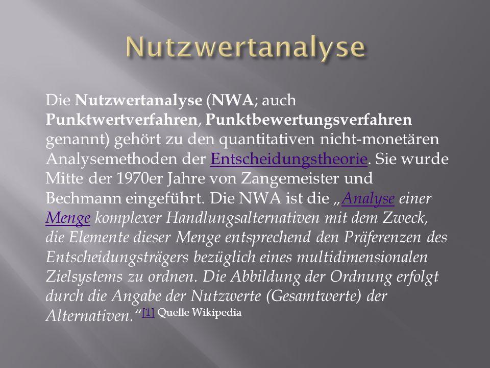 Die Nutzwertanalyse ( NWA ; auch Punktwertverfahren, Punktbewertungsverfahren genannt) gehört zu den quantitativen nicht-monetären Analysemethoden der Entscheidungstheorie.