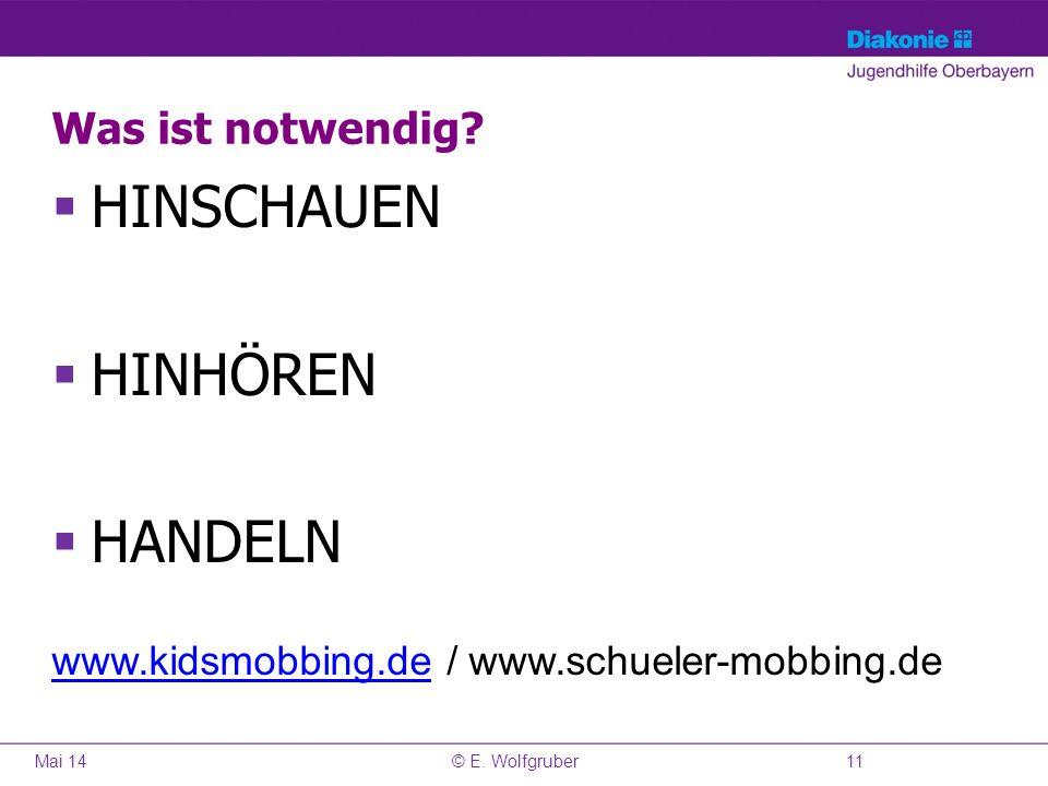 Was ist notwendig? HINSCHAUEN HINHÖREN HANDELN www.kidsmobbing.dewww.kidsmobbing.de / www.schueler-mobbing.de Mai 1411© E. Wolfgruber