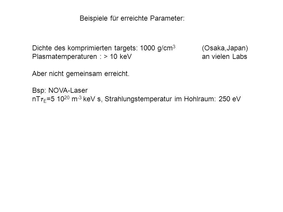 Beispiele für erreichte Parameter: Dichte des komprimierten targets: 1000 g/cm 3 (Osaka,Japan) Plasmatemperaturen : > 10 keVan vielen Labs Aber nicht