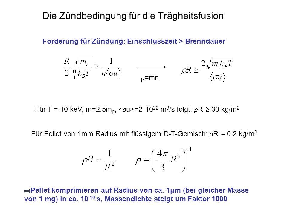 Die Zündbedingung für die Trägheitsfusion Forderung für Zündung: Einschlusszeit > Brenndauer =mn Für T = 10 keV, m=2.5m p, =2 10 22 m 3 /s folgt: R 30