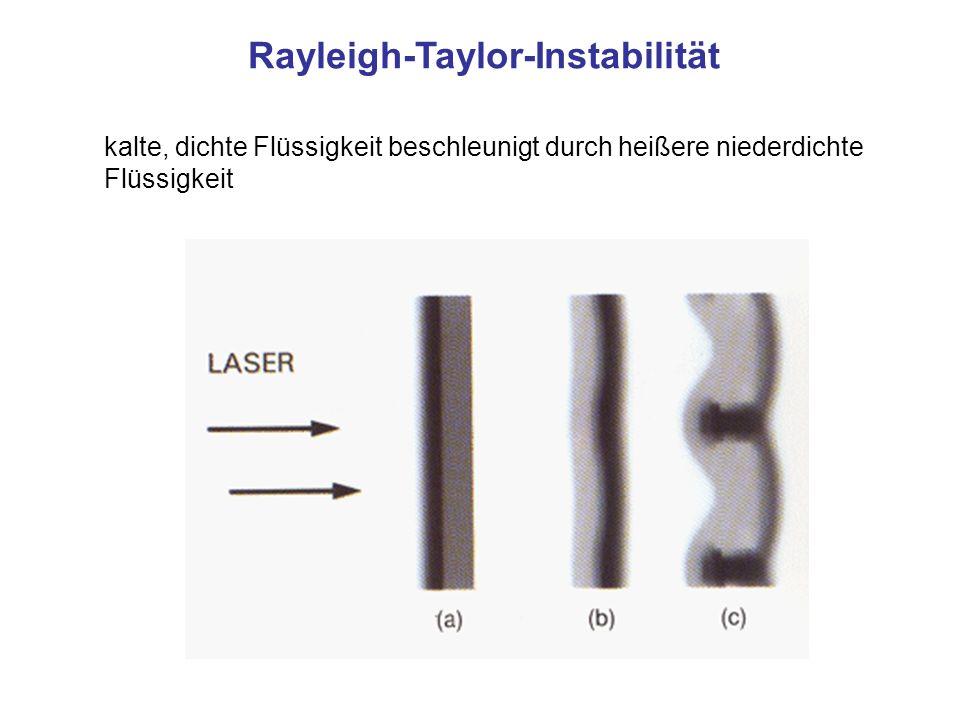 kalte, dichte Flüssigkeit beschleunigt durch heißere niederdichte Flüssigkeit Rayleigh-Taylor-Instabilität