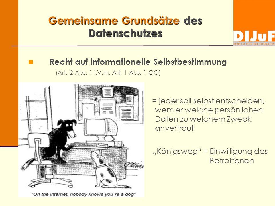 Gemeinsame Grundsätze des Datenschutzes Recht auf informationelle Selbstbestimmung (Art.