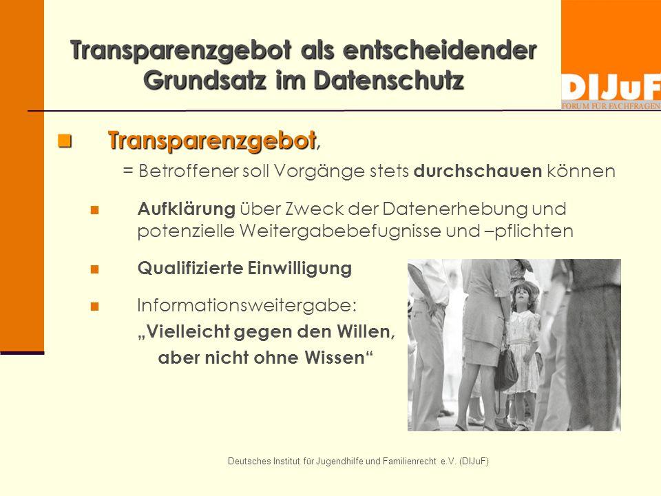 Deutsches Institut für Jugendhilfe und Familienrecht e.V. (DIJuF) Transparenzgebot als entscheidender Grundsatz im Datenschutz Transparenzgebot Transp