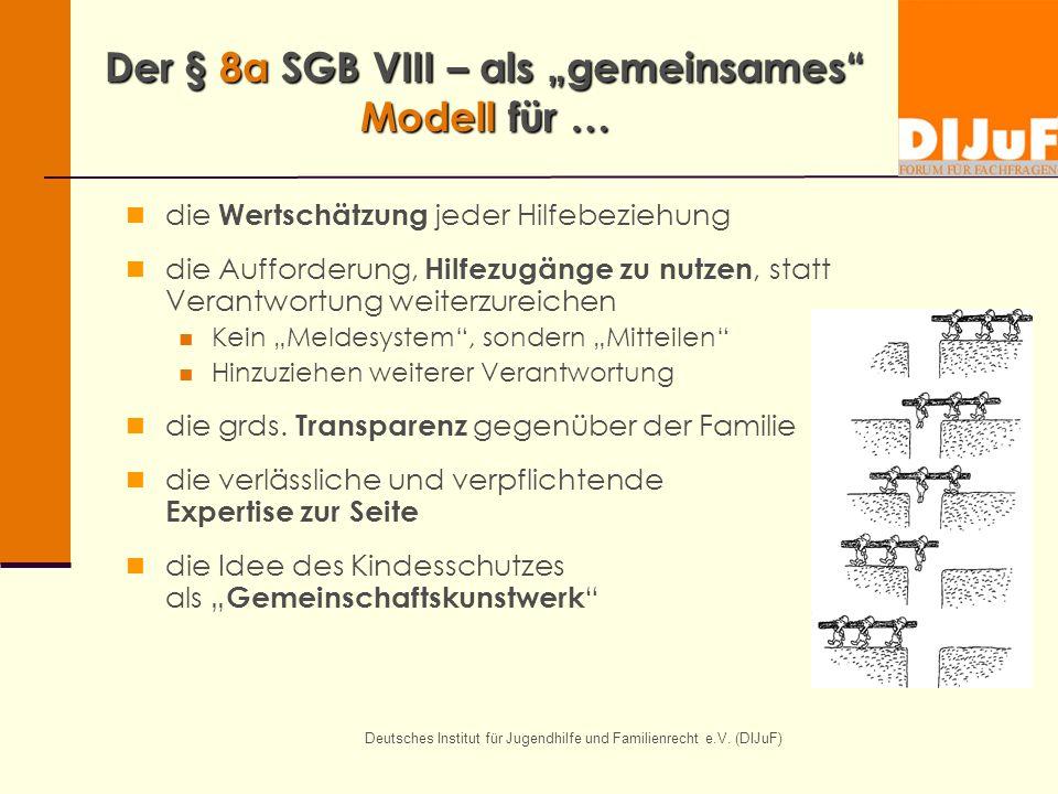 Deutsches Institut für Jugendhilfe und Familienrecht e.V. (DIJuF) Der § 8a SGB VIII – als gemeinsames Modell für … die Wertschätzung jeder Hilfebezieh