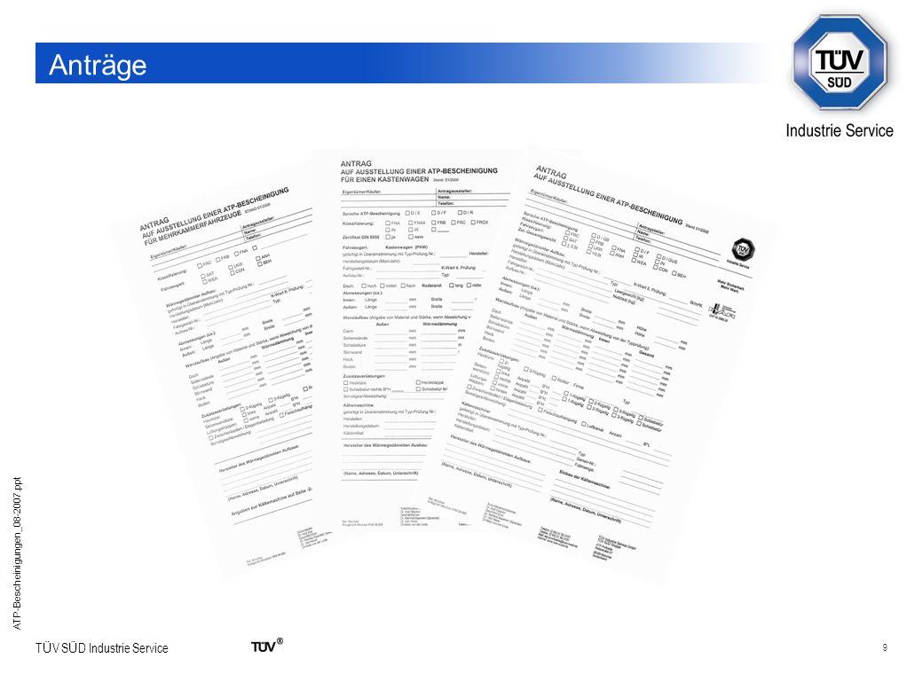 20 T Ü V S Ü D Industrie Service ATP-Bescheinigungen_08-2007.ppt Ablaufdiagramm – ATP-Bescheinigung Ablaufdiagramm für die Ausstellung einer ATP-Bescheinigung ATP-PRÜFSTELLE Anerkennung vom Verkehrsministerium Typprüfungen sind erforderlich für Die Ausstellung von ATP-Bescheinigungen Die Serienfertigung gemäß dem ATP und DIN 8958 / 8959 Einhaltung der Anforderungen nach DIN 8958 / 8959 Typprüfung: k-Wert Wärmegedämmtes Beförderungsmittel Vergabe einer Typprüfnummer für max.