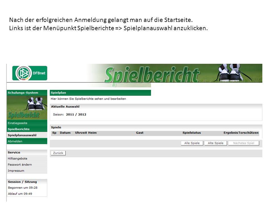 Nach der erfolgreichen Anmeldung gelangt man auf die Startseite. Links ist der Menüpunkt Spielberichte => Spielplanauswahl anzuklicken.