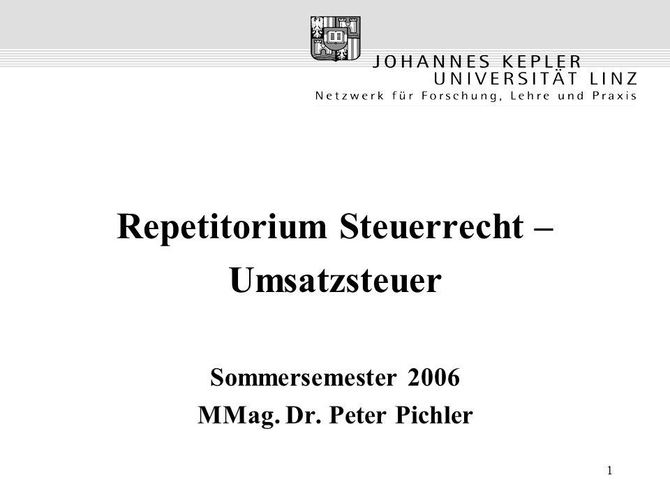 2 Grundsätze der USt Rechtsgrundlage –Österreichisches Umsatzsteuergesetz –6.Mehrwertsteuer-Richtlinie Charakterisierung –Objektsteuer Objektbezogene Merkmale (Entgelt) –Verbrauchsteuer Belastung Letztverbraucher; Steuer auf Einkommensverwendung