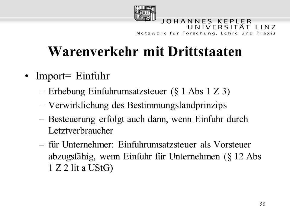 38 Warenverkehr mit Drittstaaten Import= Einfuhr –Erhebung Einfuhrumsatzsteuer (§ 1 Abs 1 Z 3) –Verwirklichung des Bestimmungslandprinzips –Besteuerung erfolgt auch dann, wenn Einfuhr durch Letztverbraucher –für Unternehmer: Einfuhrumsatzsteuer als Vorsteuer abzugsfähig, wenn Einfuhr für Unternehmen (§ 12 Abs 1 Z 2 lit a UStG)
