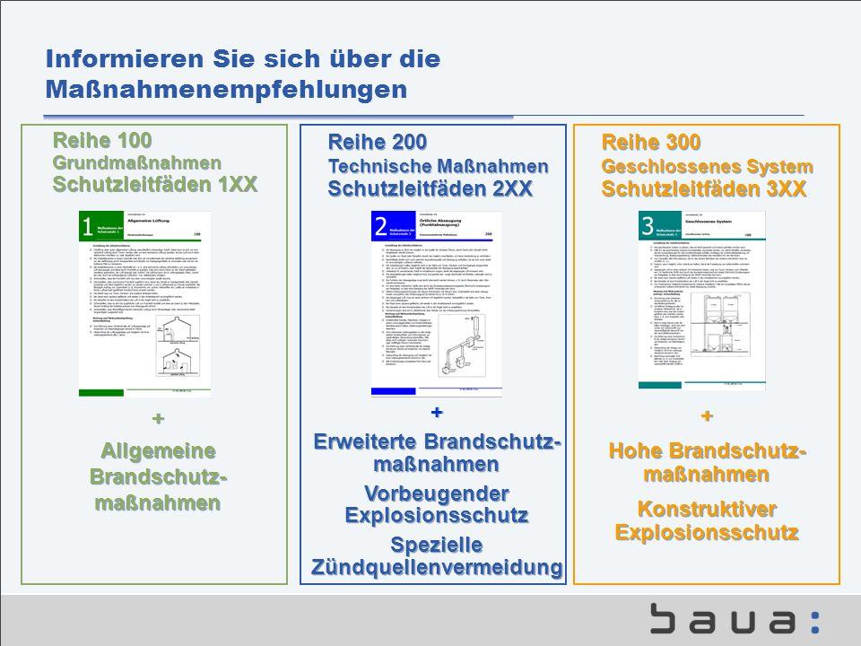 Informieren Sie sich über die Maßnahmenempfehlungen Reihe 200 Technische Maßnahmen Schutzleitfäden 2XX Reihe 300 Geschlossenes System Schutzleitfäden