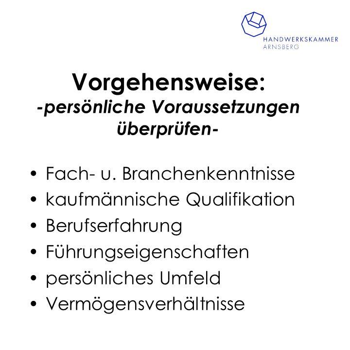 Vorgehensweise: -Unternehmensexpose´- Leistungsprogramm Kundenkreis langfristige Verträge Betriebsausstattung Mitarbeiterstruktur Betriebsergebnisse Branchenentwicklung