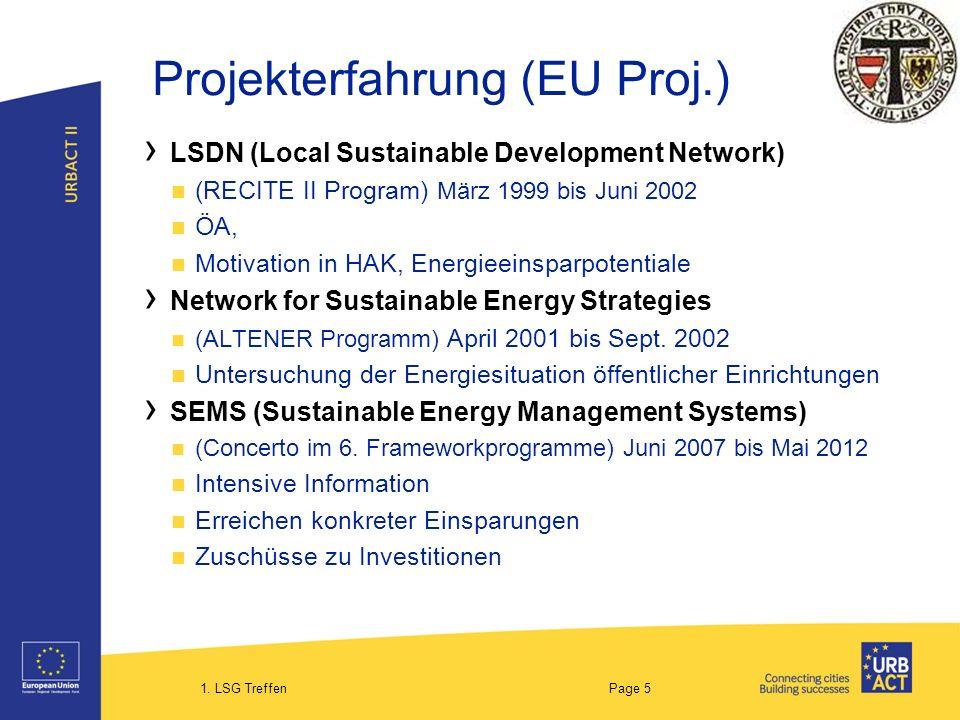 1. LSG Treffen Page 5 Projekterfahrung (EU Proj.) LSDN (Local Sustainable Development Network) (RECITE II Program) März 1999 bis Juni 2002 ÖA, Motivat