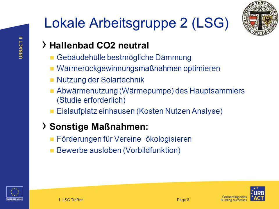 1. LSG Treffen Page 8 Lokale Arbeitsgruppe 2 (LSG) Hallenbad CO2 neutral Gebäudehülle bestmögliche Dämmung Wärmerückgewinnungsmaßnahmen optimieren Nut