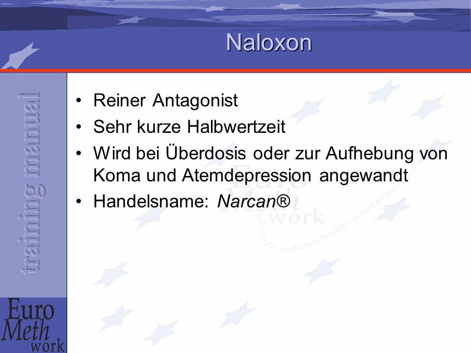 Naloxon Reiner Antagonist Sehr kurze Halbwertzeit Wird bei Überdosis oder zur Aufhebung von Koma und Atemdepression angewandt Handelsname: Narcan®