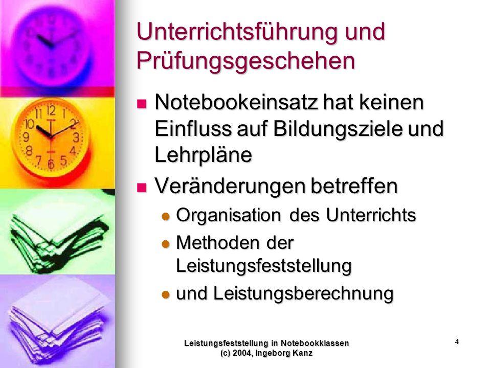 Leistungsfeststellung in Notebookklassen (c) 2004, Ingeborg Kanz 4 Unterrichtsführung und Prüfungsgeschehen Notebookeinsatz hat keinen Einfluss auf Bi