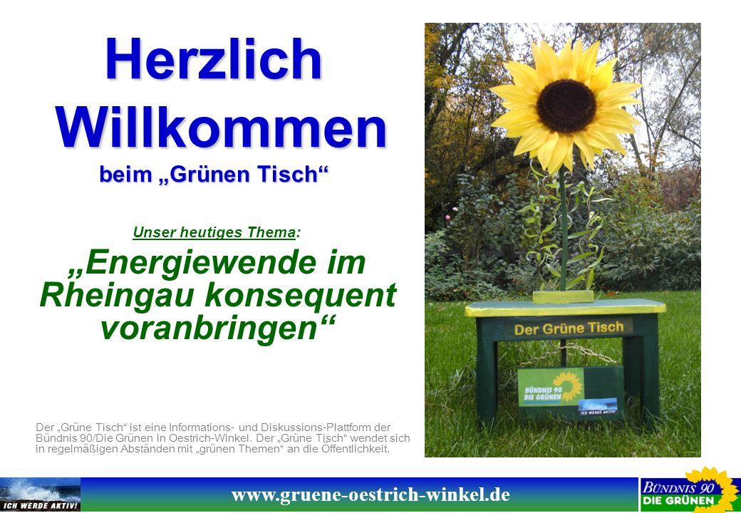 www.gruene-oestrich-winkel.de Unser heutiges Thema: Energiewende im Rheingau konsequent voranbringen Der Grüne Tisch ist eine Informations- und Diskussions-Plattform der Bündnis 90/Die Grünen in Oestrich-Winkel.