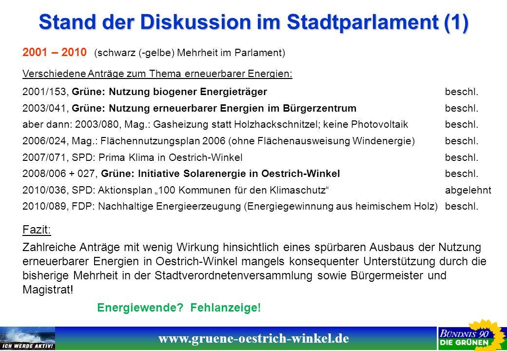 www.gruene-oestrich-winkel.de Stand der Diskussion im Stadtparlament (2) 2011 - heute (rot-grüne Mehrheit im Parlament; schwarz-gelbe Mehrheit im Magistrat) 2011/150, SPD + Grüne: Änderung Flächennutzungsplan, Kap.