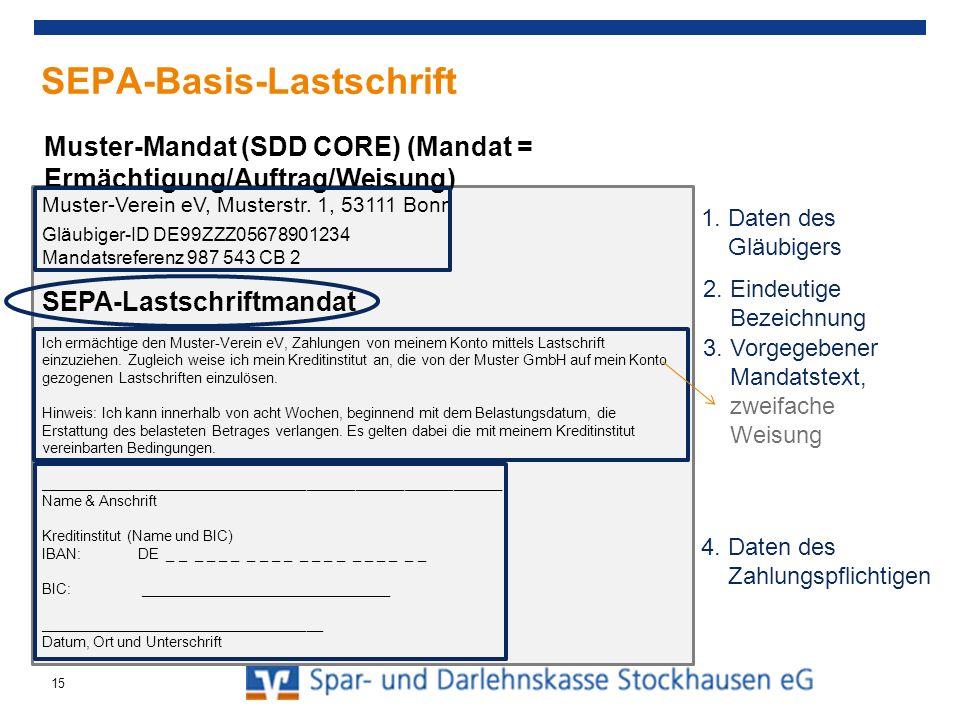 SEPA-Basis-Lastschrift (SDD Core) Zahlungspflichtiger ist spätestens 14 Tage vor Fälligkeit über Betrag und Termin zu informieren (Pre-Notification) Vorgegebene Vorlagefristen (5 bzw.
