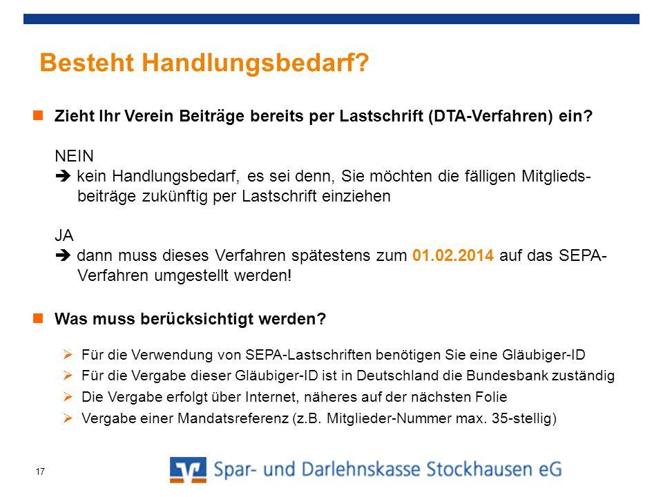 Gläubiger-Identifikationsnummer Jeder Einreicher von Lastschriften benötigt eine Gläubiger-ID Vergabe in Deutschland durch die Deutsche Bundesbank unter https://extranet.bundesbank.de/scp/ Nationales Identifikationsmerkmal DE78ZZZ0000018353 ISO-Ländercode Prüfziffer Individuell nutzbar Aufbau der Gläubiger-Identifikationsnummer 18
