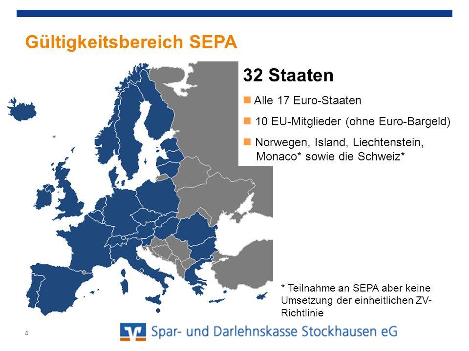 Gültigkeitsbereich SEPA 32 Staaten Alle 17 Euro-Staaten 10 EU-Mitglieder (ohne Euro-Bargeld) Norwegen, Island, Liechtenstein, Monaco* sowie die Schwei