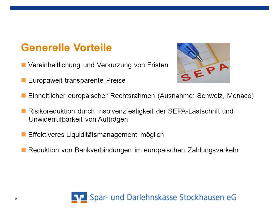 Agenda Allgemeine Informationen und aktueller Stand SEPA-Überweisung SEPA-Lastschriften SEPA-Basis-Lastschriften SEPA-Firmen-Lastschriften Umgang in der Praxis / Handlungsempfehlungen 7
