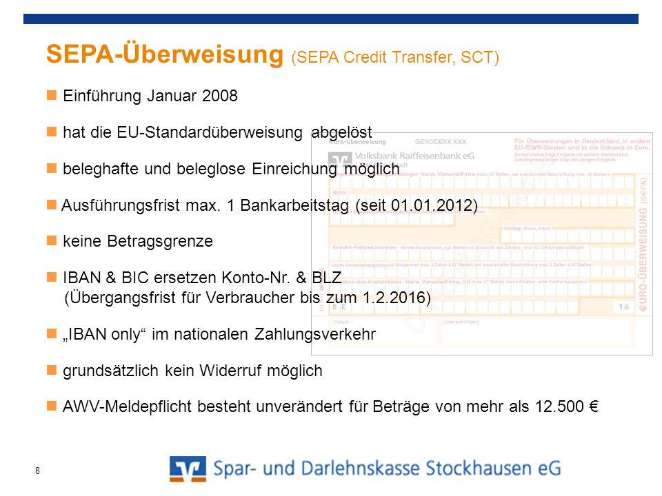 Der Kontoauszug Ihrer Volksbank Raiffeisenbank enthält schon seit geraumer Zeit diese Angaben Auf Ihrer VR-BankCard (der Scheckkarte) stehen diese Angaben auf der Rückseite zwischen dem Magnet- streifen und dem Unterschriftsfeld IBAN und BIC* BIC: GENO DE XX XXX = Volksbank Raiffeisenbank eG IBAN: DE 38 12345678 1234567890 * IBAN = International Bank Account Number / BIC = Bank Identifier Code ISO-Ländercode (2) Prüfziffer (2) Bankleitzahl (8) Kontonummer (10) 9