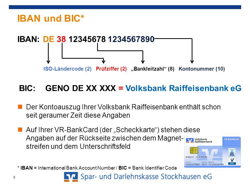 Der Kontoauszug Ihrer Volksbank Raiffeisenbank enthält schon seit geraumer Zeit diese Angaben Auf Ihrer VR-BankCard (der Scheckkarte) stehen diese Ang