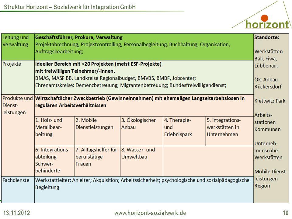 13.11.2012 www.horizont-sozialwerk.de 10 Struktur Horizont – Sozialwerk für Integration GmbH
