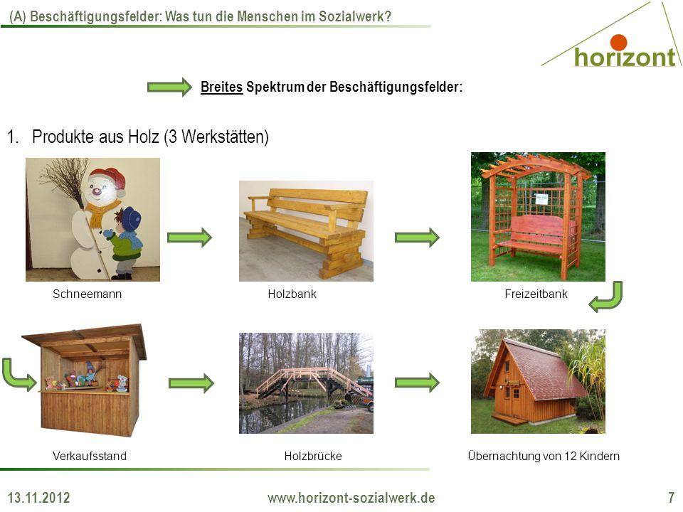 13.11.2012 www.horizont-sozialwerk.de 7 (A) Beschäftigungsfelder: Was tun die Menschen im Sozialwerk? Breites Spektrum der Beschäftigungsfelder: 1.Pro