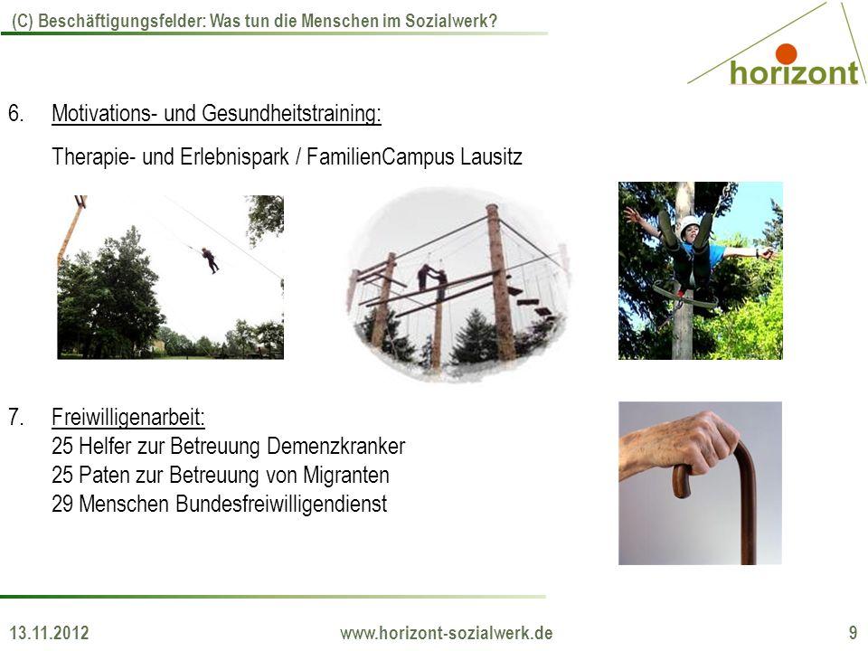 13.11.2012 www.horizont-sozialwerk.de 9 (C) Beschäftigungsfelder: Was tun die Menschen im Sozialwerk? 6.Motivations- und Gesundheitstraining: Therapie