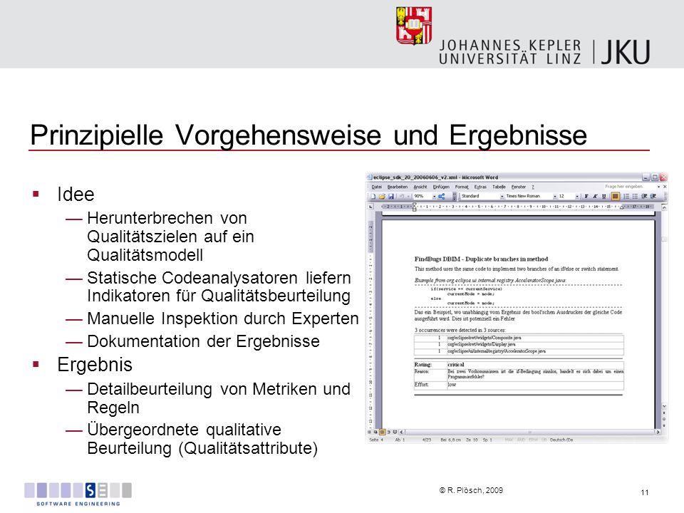 11 © R. Plösch, 2009 Prinzipielle Vorgehensweise und Ergebnisse Idee Herunterbrechen von Qualitätszielen auf ein Qualitätsmodell Statische Codeanalysa
