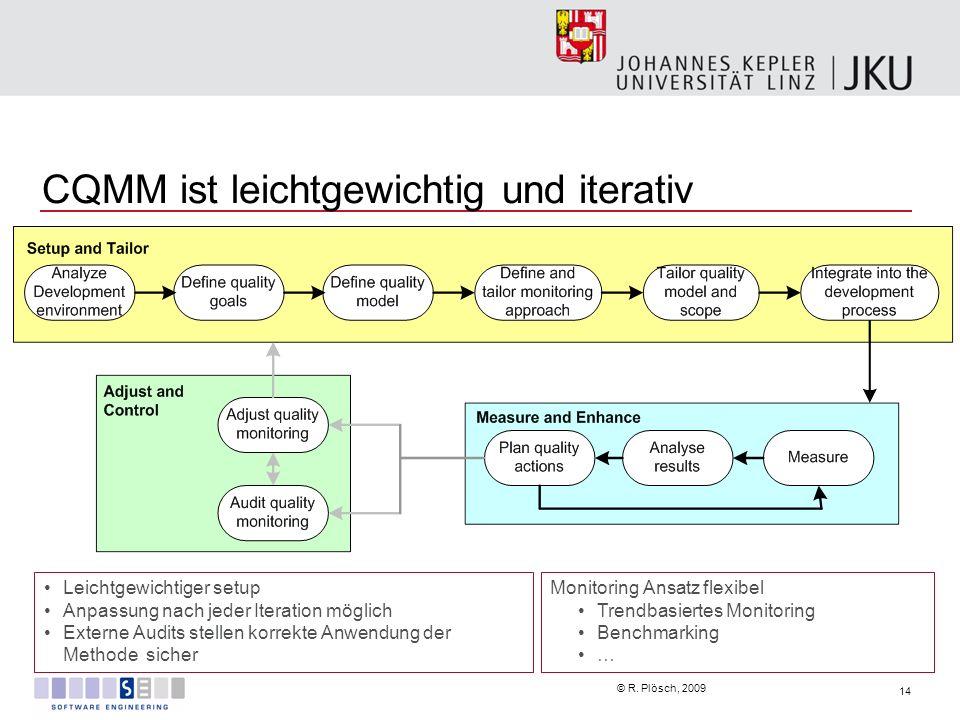 14 © R. Plösch, 2009 CQMM ist leichtgewichtig und iterativ Leichtgewichtiger setup Anpassung nach jeder Iteration möglich Externe Audits stellen korre