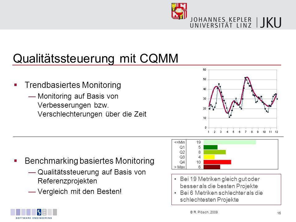 15 © R. Plösch, 2009 Qualitätssteuerung mit CQMM Trendbasiertes Monitoring Monitoring auf Basis von Verbesserungen bzw. Verschlechterungen über die Ze