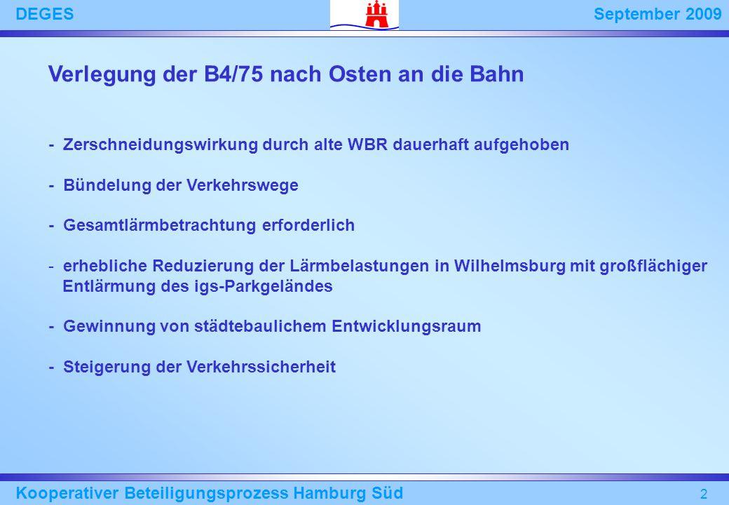 September 2009DEGES Kooperativer Beteiligungsprozess Hamburg Süd 2 Verlegung der B4/75 nach Osten an die Bahn - Zerschneidungswirkung durch alte WBR d