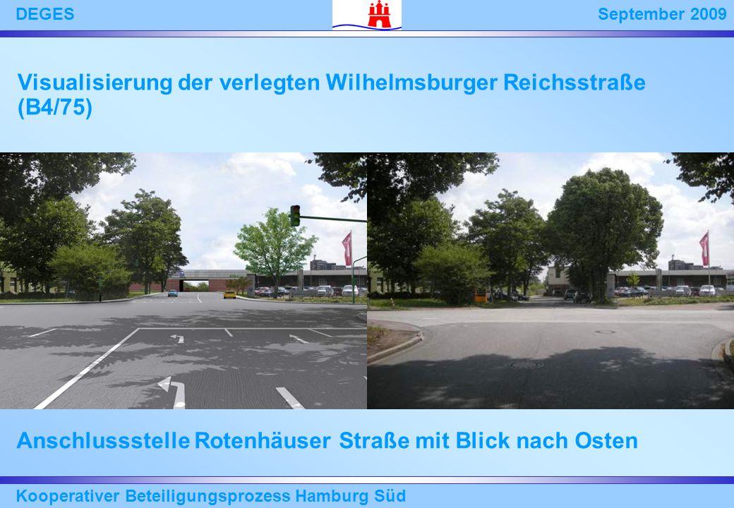 September 2009DEGES Kooperativer Beteiligungsprozess Hamburg Süd Anschlussstelle Rotenhäuser Straße mit Blick nach Osten Visualisierung der verlegten