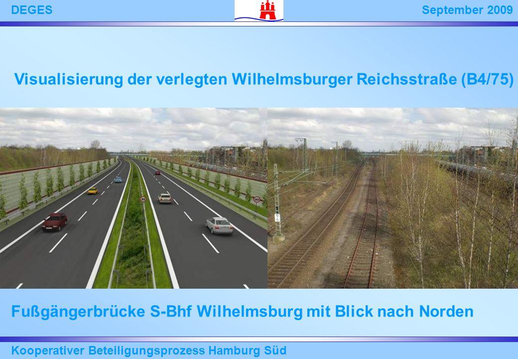September 2009DEGES Kooperativer Beteiligungsprozess Hamburg Süd Fußgängerbrücke S-Bhf Wilhelmsburg mit Blick nach Norden Visualisierung der verlegten