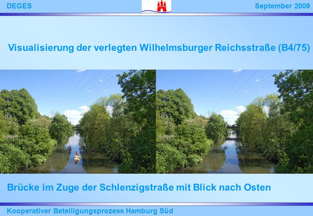 September 2009DEGES Kooperativer Beteiligungsprozess Hamburg Süd Brücke im Zuge der Schlenzigstraße mit Blick nach Osten Visualisierung der verlegten